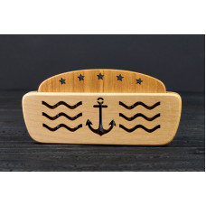 """Comb of natural wood """"Nautical"""" in a mini holder for beard and hair"""