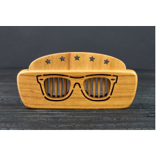 "Comb of natural wood ""Sunglasses"" in a mini holder for beard and hair"