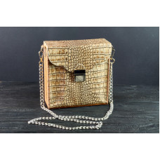 Leather Bag Wooden Bag Imitation Reptile Skin Handmade Simple Bag