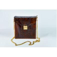 Leather Bag Wooden Bag. Imitation Reptile Skin. Handmade Simple Bag