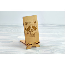"""Stand for phone """" Raccoon """" from a natural wood"""