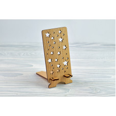 """Stand for phone """" Stars """" from a natural wood"""