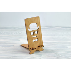 """Stand for phone """" Man in hat """" from a natural wood"""