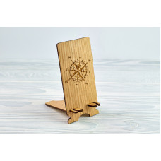 """Stand for phone """" Rose of Wind """" from a natural wood"""