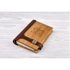 "Notebook made of genuine leather and wood ""Love is never wrong"" on magnetic clasp"