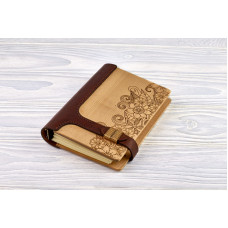 "Notebook made of genuine leather and wood ""Flowers"" on magnetic clasp"