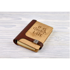 "Notebook made of genuine leather and wood ""It is never too late"" on magnetic clasp"