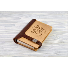 "Notebook made of genuine leather and wood ""Shine like a star"" on magnetic clasp"