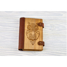 "Notebook made of genuine leather and wood ""Owl"""