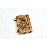 "Pocket notebook A7 ""Lion"" Dark of plywood on the rings, 60 sheets"