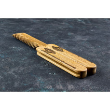 "Wooden folding comb ""Viking`s Ax"" for a beard and hair"