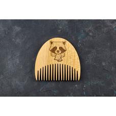 """Wooden beard comb """"Raccoon"""""""