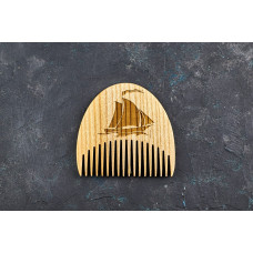 "Wooden beard comb ""Ship"""