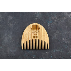 """Wooden beard comb """"Man in a hat"""""""