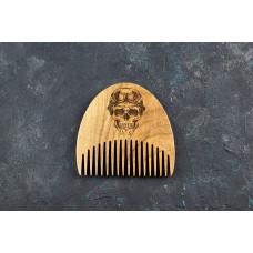 """Wooden beard comb """"Skull"""""""