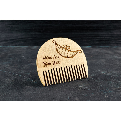 "Wooden beard comb ""Cheshire Cat"""
