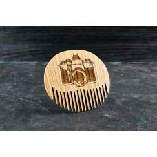 """Wooden beard comb """"Camera """""""