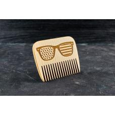 "Wooden beard comb ""Glasses """