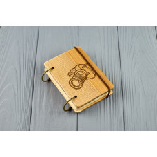 "Pocket notebook made of wood A7 on rings ""Camera"""