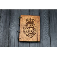 Notebook A5 Lion Dark of plywood on the rings, 60 sheets.