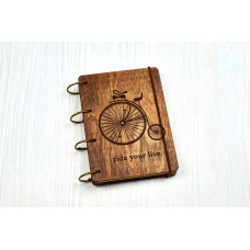 "Notebook A6 ""Bicycle antique"" from plywood Dark on rings, 60 sheets"