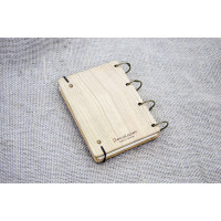 """Notepad A6 """"Panda"""" made of natural wood on rings. Notebook. Album for drawing. A diary. Sketchbook"""