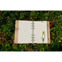 "Notebook made of genuine leather and wood ""Door to nowhere"" with two clasps"