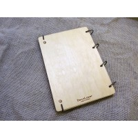 "A5 Plywood notebook ""Stars"" with rings"