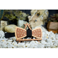 "Bow tie ""Stars"" made of natural wood with veneer"
