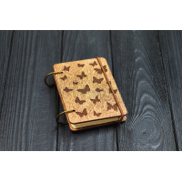 Notebook A7 Butterflies from plywood Dark on rings
