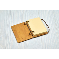 """Notebook A7 """"Bright Idea"""" from plywood Light on rings"""