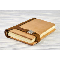 Notepad natural wood + leather with magnet clasp