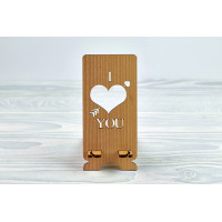 """Stand for phone """"  I LOVE YOU """" from a natural wood"""