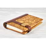 "Notebook made of genuine leather and wood ""Flower ornament"" on magnetic clasp"