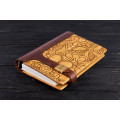 """Notebook made of genuine leather and wood """"Flower ornament"""" on magnetic clasp"""